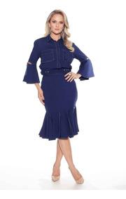 Conjunto Fascínius Catarina Azul Moda Evangélica