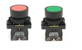 Kit C/ 2 Pçs - Botão Pulsador Para Furo 22mm Metaltex Vd+vm