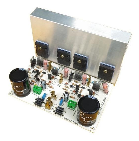 Placa Amplificador 200w Rms Estereo Com Fonte E Dissipador