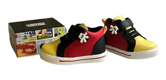 Tênis Infantil Velcro Bota Mickey Tema Aniversário Lançament