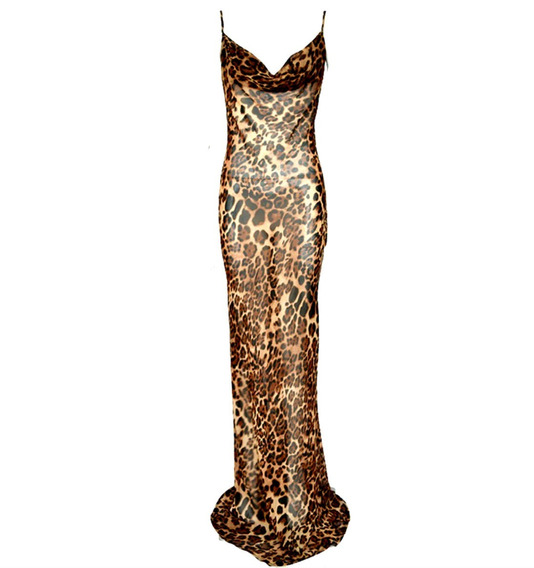 Vestido Sexy Cuello En V Spaghetti Maxi De Gasa Animal Print