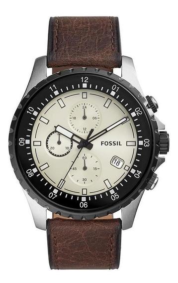 Relógio Masculino Fossil Fs5674/0kn 48mm Couro Marrom
