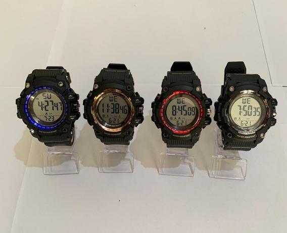 Relógio Digital Masculino Prova D´água 10x Com 10 Caixinhas