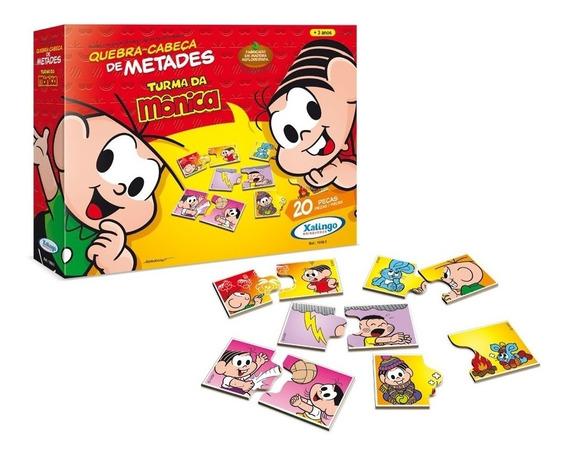 Quebra-cabeças Metades Turma Monica (de Madeira)- Xalingo