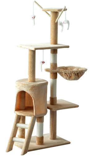Imagen 1 de 3 de Torre Rascador Para Gatos Con 4 Niveles. 138cm - Importada