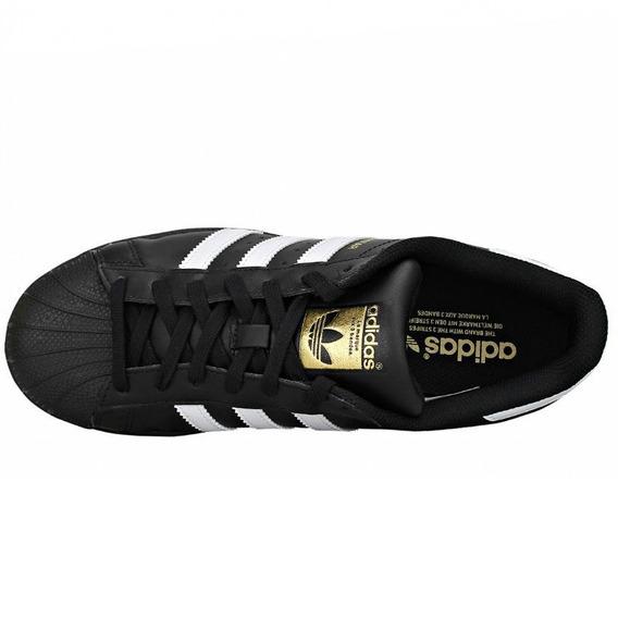 Tenis adidas Superstar Foundation Negro Franjas Blancas