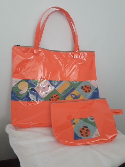 Combo Bolsos De Playa Con Portacosmeticos, Carteras Plastica