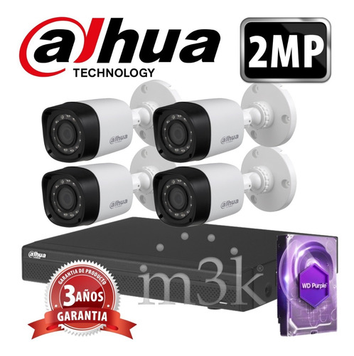 Kit Seguridad Dahua Full Hd Dvr 4 + Disco 1 Tb Instalado + 4 Camaras 2mp 1080p Exterior Infrarrojas / Domos Int + Ip M3k