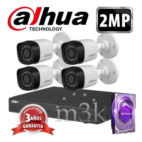 Kit Seguridad Dahua Full Hd Dvr 4 + Disco 1 Tb Instalado + 4 Camaras 2mp 1080p Exterior Infrarrojas / Domos Int + Ip M3k