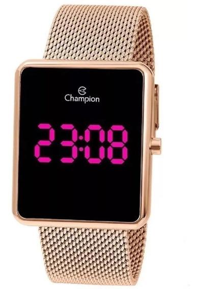 Relógio Feminino Rose Quadrado Led Digital Grande