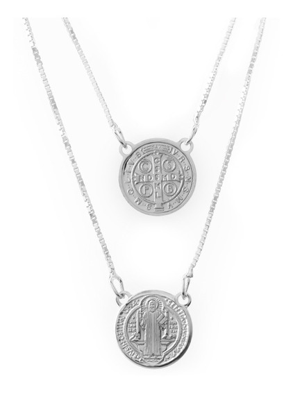 Escapulário De Prata Shine Medalha De São Bento Devotion