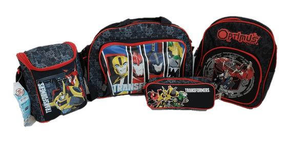 Pack Transformers Bolso + Mochila + Lonchera + Estuche Rojo