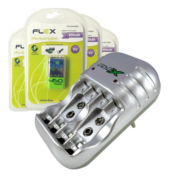 Carregador Pilhas Flex Kit 2 Bateria 9v Recarregável 450mah