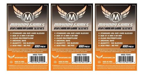 3 Pacotes Mayday Usa Chimera 100 Card Sleeves- 57,5mm X 89mm