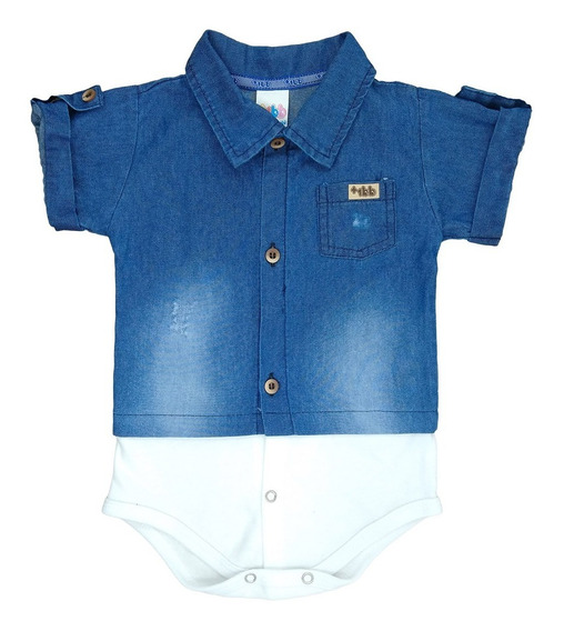 Body Camisa Jeans Para Bebê Manga Curta Menino