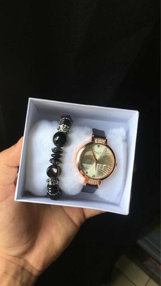 Relógio Feminino Com Pulseira Preta Estiloso Joias Novo