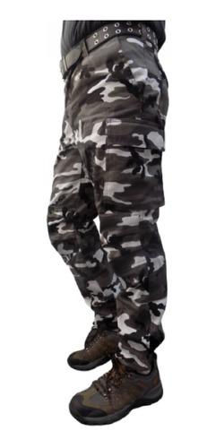 Pantalón Cargo Camuflado Urbano Gabardina Reforzado Con Puño