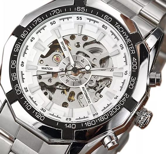 Relógio Esqueleto,de Aço, Automático,aparece O Maquinário.