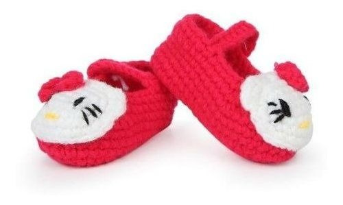 Sapatinho Em Croche Pantufa Infantil De Bebe - Hello Kitty