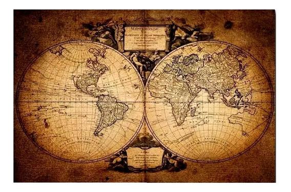 Cuadro Mapamundi Antiguo 150x100 Consulte Otros Tela Lienzo