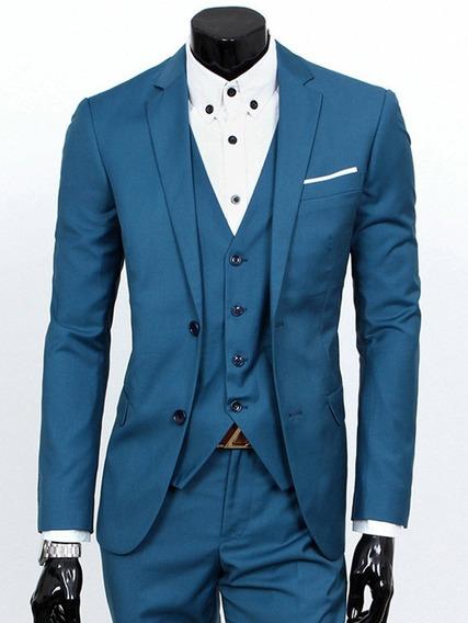Blazer+ Calça Azul Celeste Slim Microfibra Masculino