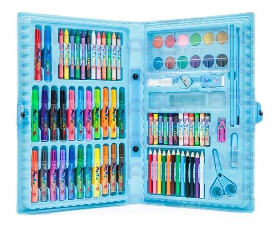 Estojo Maleta Escolar Pintura 86 Peças Canetinhas Giz Azul