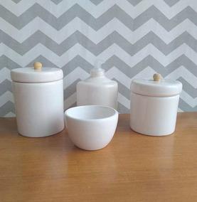 Kit Higiene Pinus 4 Peças Gel Algodão Cotonete Ceramica