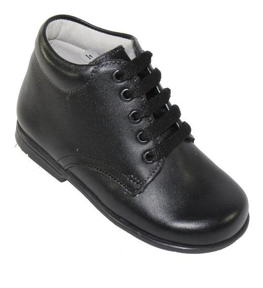 Zapato Escolar Colegial Bota Coqueta Negro Niño Piel 184000a