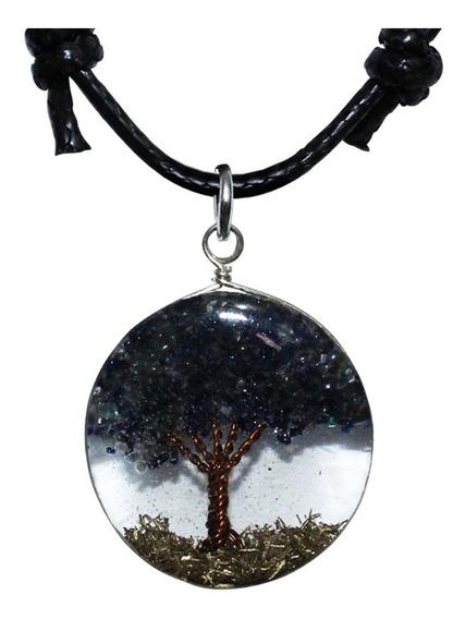 Colar Cordão Orgonite Redondo Pedra Estrela Azul Resina Árvore Da Vida Espiritual + Brinde
