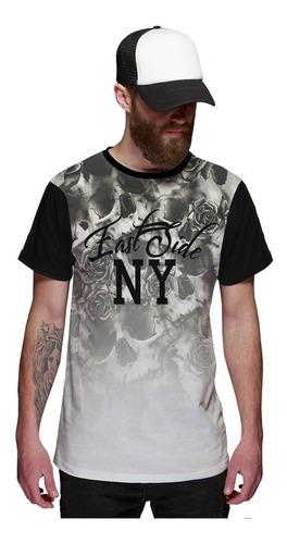 Imagem 1 de 2 de Camiseta Masculina Flowers Caveira Floral East Side New York