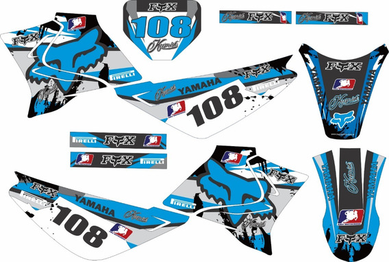 Kit Trilha Adesivo Xtz Moto Cross F. Azul Kr07 0,20