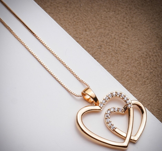 Colar Banhado Ouro Rose Com Pingente Coração Duplo