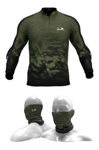Imagem 1 de 7 de Camisa, Camiseta De Pesca Presa Viva Camuflada05 + Tube Neck
