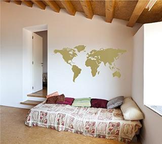 Mapa Del Mundo Vinilo Calcomania Decorativo Para Pared | Tie