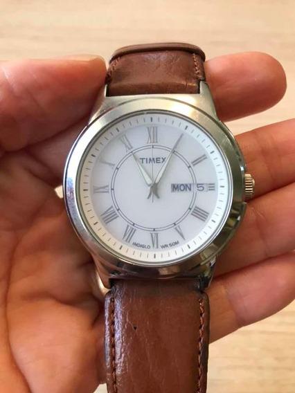 Relógio Timex Wr 50 M Pulseira De Couro