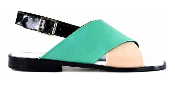 Sandalia Cuero Zapato Verano Mujer Briganti Vestir Mcsd04786