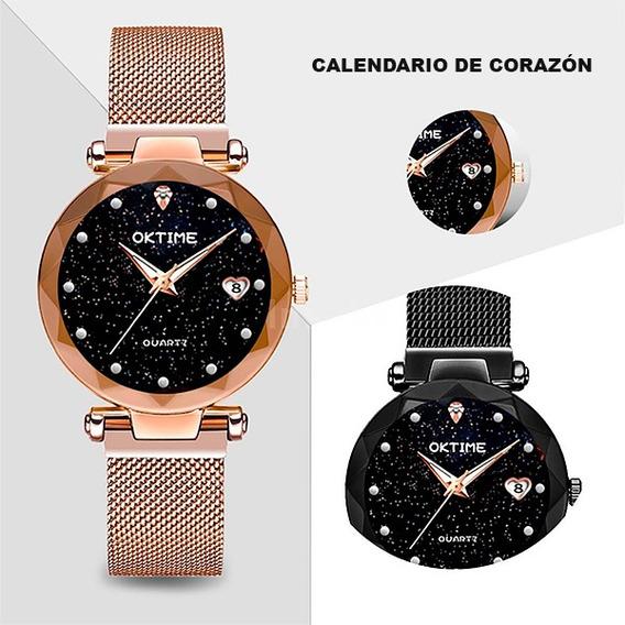 Reloj Mujer Corte Diamante, Broche De Iman Con Garantía.