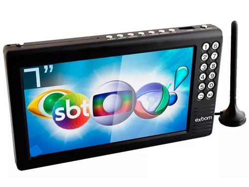 Tv Digital Tela 7 Hd Portátil Bateria Sd Av Usb Fm Mp3 Vídeo