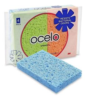 2 Paquetes De 4 Esponjas De Celulosa 3m Ocelo Antimicrobial