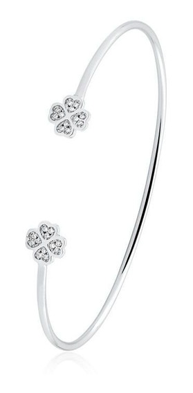 Bracelete Trevo Da Sorte Com Zirconias -lindo!