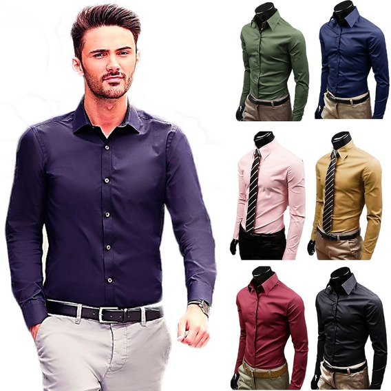 Camisas Caballeros Manga Larga Slim Fit By Plutonio