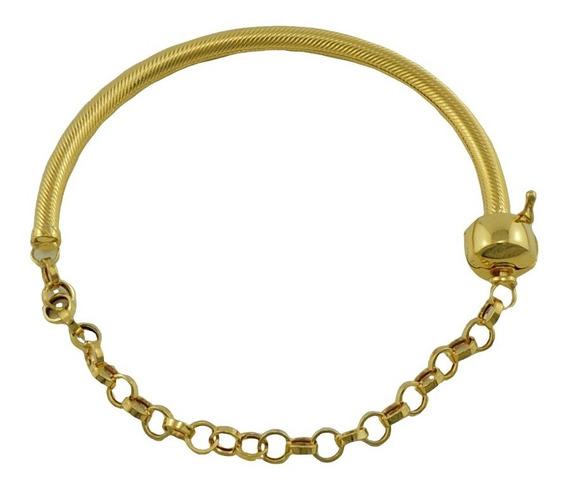 Pulseira Bracelete Mista Para Berloque 19 Cm Ouro 18k 750