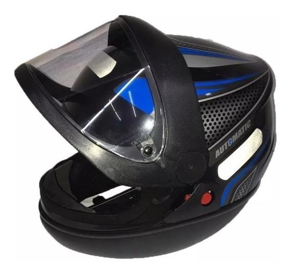 Capacete Preto Com Azul Automático Modelo San Marino Fw3