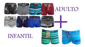 Kit 14 Cuecas Boxer Adulto + 14 Cuecas Box Infantil