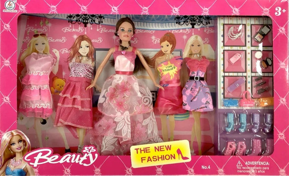 Muñeca Barbie Beauty + Vestidos Ac Juguete Niña Niñas Regalo