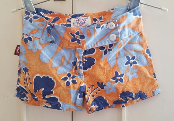 Short Nena Talle 6 Naranja Y Azul