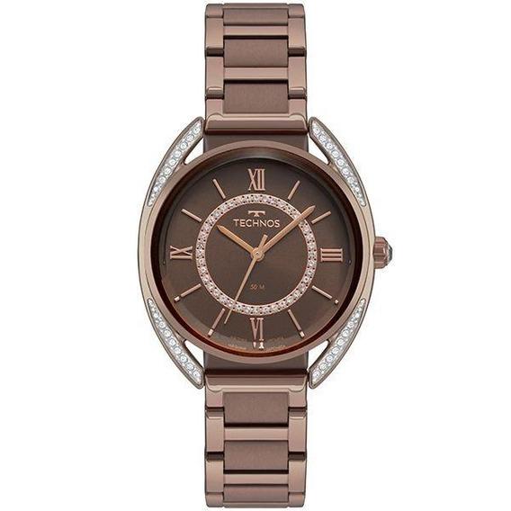 Relógio Technos Feminino Crystal Marrom 2035mre/4m