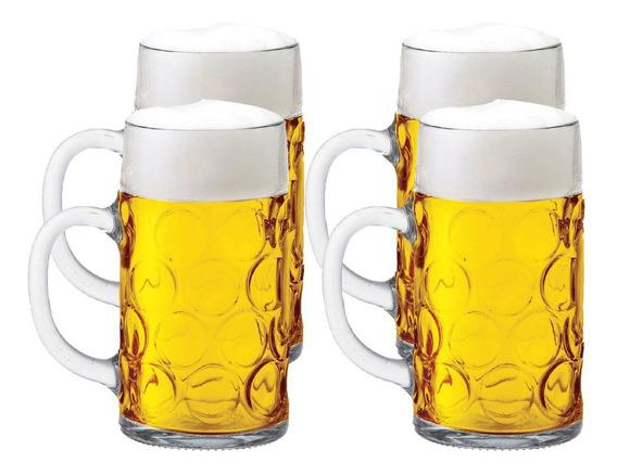 Caneca Chopp Caneca Cerveja Alemã Vidro Masskrug M 500ml 4pc