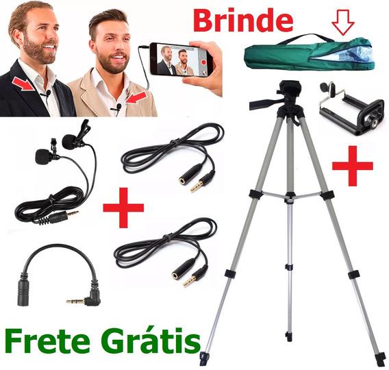 Microfone Duplo De Lapela Para Celular Câmera + Tripé 1,20m