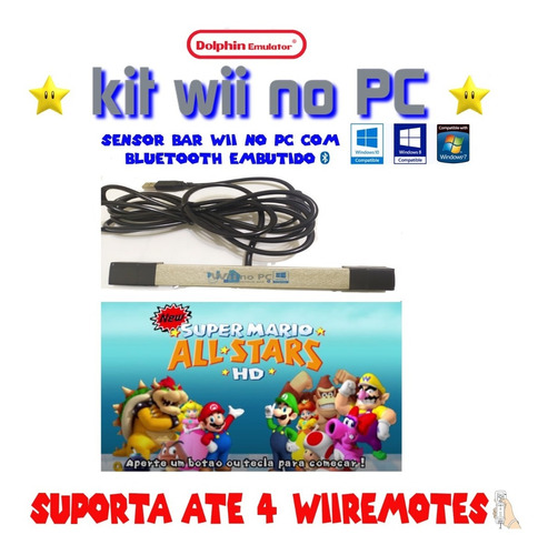 Barrinha Usb (sensor Bar +bluetooth Embutido) Dolphin Wii Pc